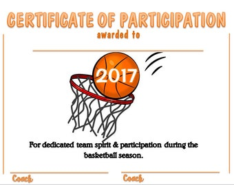 2017 Basketball Sports Certificate - Digital Download
