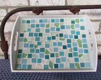 Genuine Sea Glass and Tile Mosaic Serving Tray