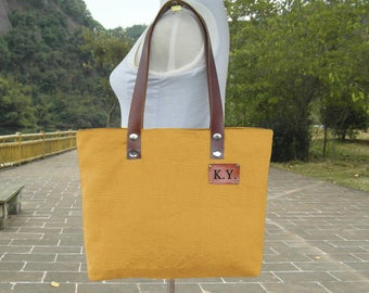 Golden canvas tote bag, personalized leather strap tote bag, women's shoulder bag with unique tag