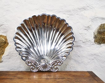 Large Sea Shell tray French bowl serving dish metal pressed