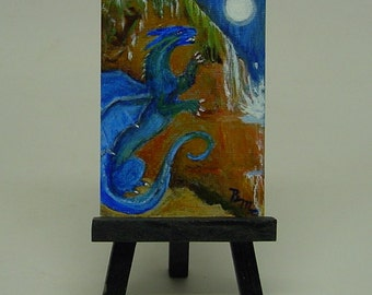 Aceo Original Water Dragon  Acrylic