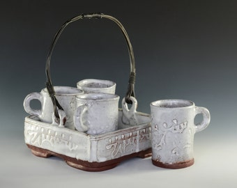COOL CADDY with four cups in red stoneware and white glaze