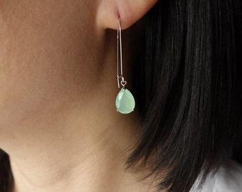 SALE - Bridesmaid Gift Earrings Blue Green Crystal CZ Earrings Dangle Drop GIFT  Bridal Shower Bridesmaid Gift Bride Wedding Earrings Long E