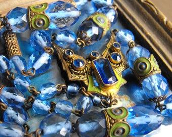 Antique Czech Sapphire blue glass Enamelled Sautoir necklace Deco Nouveau blue necklace  Neiger era