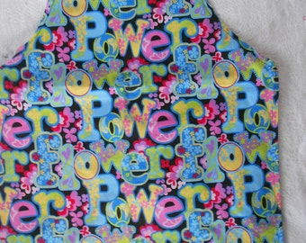 Multi Colored Flower Power Apron - Reversible Child Apron - Girls Rule Apron - Adjustable Straps Apron - Ready to Ship
