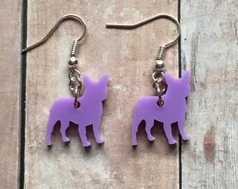 Lavender french bulldog earrings
