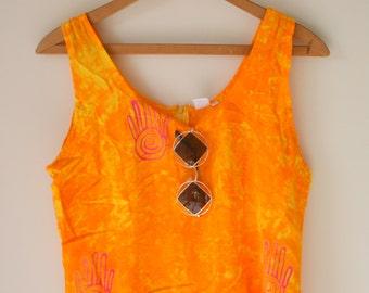 1980s HIPPIE Frock Dress....size medium to large.....boho. hippie. 80s dress. 1980s dress. cotton sundress. colorful. ethnic. beach. tie dye