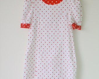 Vintage POLKA DOT I Love Lucy Girls Dress...size 10 12 14 girls...red dress. girls. kids. children. nautical. mod. 1980s. summer. polka dots