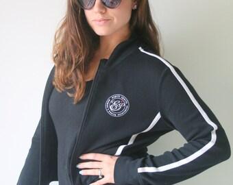 1990s ESPRIT Jacket...size small medium. black. white. retro. 1990s. rad. womens. sports jacket. soccer. workout. vintage. athletic. gym