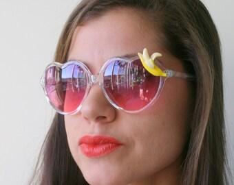 The BANANA Sunglasses..handmade. retro. colorful shades. hipster. kitsch. shades. summer. banana. fruit. party. clear heart. twiggy. mod