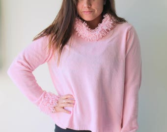 Vintage PINK VELVET Fancy Chic Sweater....size medium large...clueless. free size. hippie. urban. boho. pink. spring. knit. retro. mod