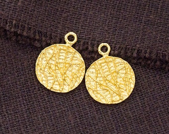 2 of 925 Sterling Silver 24k Gold Vermeil Style Textured Disc Charms 11 mm.  :vm0852