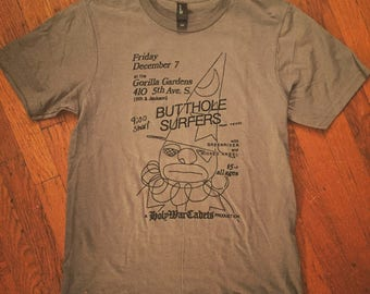 Butthole Surfers flier T-shirt late 80's Seattle show at Gorilla Gardens with Green River