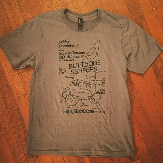 Butthole Surfers Flier T-shirt Late 80's Seattle Show At