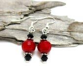 Red & Black Crystal Drop Earrings - Dainty Crystal Earrings - Crystal Earrings - Swarovski Crystal Earrings - Earrings for Sensitive Ears