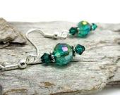 Dainty Emerald AB Crystal Drop Earrings - Crystal Earrings - Swarovski Crystal Earrings - Earrings for Sensitive Ears