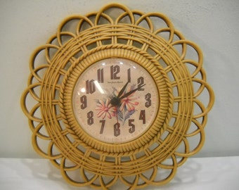 Vintage Burwood Wall Clock 1974 Basket Weave Kitchen Clock FREE SHIPPING