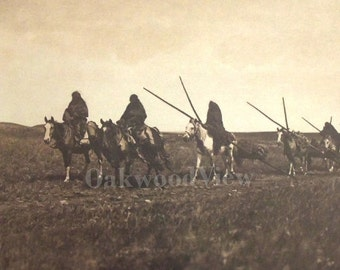 Piegan Travaux by Edward Curtis, Large Vintage 14x17 Sepia Book Art Print c1980s, Native American Indian, FREE SHIPPING