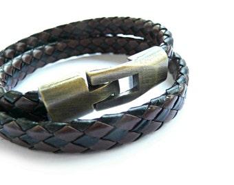 Leather Bracelet, Black Brown Bracelet, Woven Bracelet, Double Bracelet, Double Leather Bracelet, Wrap Bracelet, Men Bracelet, Women