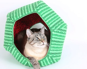 Watermelon Fabric Round Cat Bed - Ball shaped pet bed that looks like watermelon - Watermelon Cat Ball cat bed - Watermelon Cat House