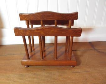 Vintage Double Wooden Napkin Holder, Shabby Chic, Mail Holder, Letter Holder, Organizer