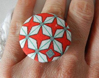Red and white graphic fabric adjustable ring