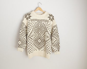 vintage gap heavy wool sweater -- ivory and brown snowflake fair isle -- womens small/med