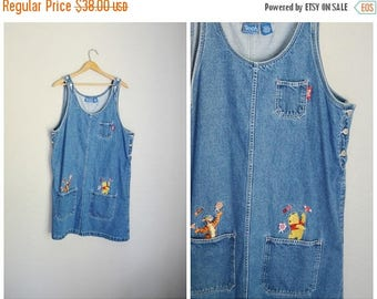 Vacation SALE - 10% off - vintage tigger pooh disney jean denim overall dress -- womens xlarge