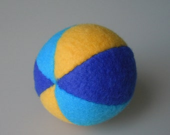 Little Catnip Ball Cat Toy Dark Aqua Yellow and Royal Blue
