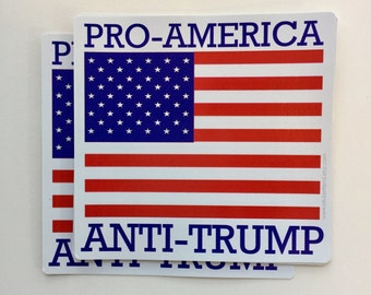 pro America anti trump American flag vinyl bumper sticker