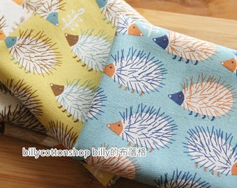 billycottonshop - m221_55 - Hedgehog fabrics - cotton linen fabrics ( 3 color to choose) in Half Yard