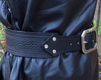 """2-1/2"""" kilt belt celtic embossed"""