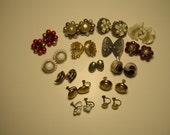 Vintage Earrings, Lot of 15 Pair, Sold Together