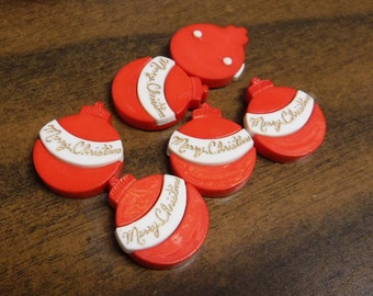 8 Red Merry Christmas Ornament Flat Back Buttons Size 11/16""