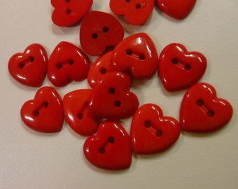 14 Red Glossy Stitch Heart Buttons Size 9/16""