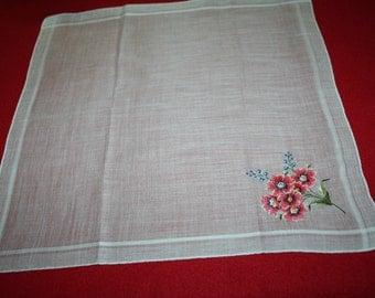 Vintage Ladies Handkerchief- Embroidered