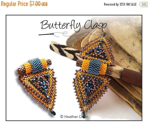 20% off Beading Pattern, Instructions, Tutorial, Peyote stitch, Triangle shaped, Beaded Snap on Clasp, Delica Beads Instant Download BUTTERF