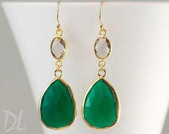 Green Onyx Earrings - Smokey Quartz earrings - Gemstone earrings - Gold drop earrings - Dangle Earrings - gift for her