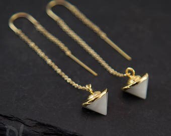 White Agate Earrings - Gold Ear Thread Earrings - Spike Earrings - Ear Threader Earrings - Minimal Jewelry - Long Gold Dangle Earring
