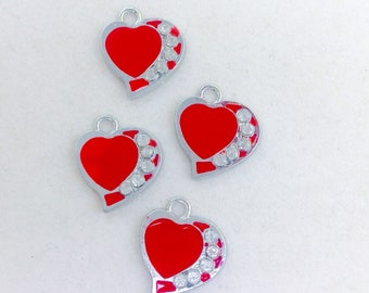 Red Enamel and Rhinestone Metal Alloy Heart Charms