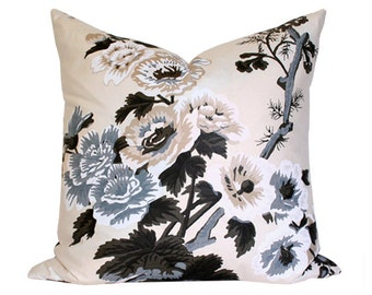 Pyne Hollyhock Charcoal Pillow Cover (Single-Sided) - Made-to-Order