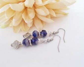 Purple Earrings, Czech Glass Earrings, Gift for Her, Bohemian Drop Earrings, Boho Beaded Earrings, Summer Hippie Jewelry, Gypsy Drop Earring