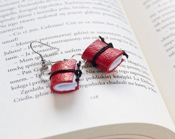 Leather earrings, miniature book earrings, mini book jewelry, book lover reader gift, literature jewelry, eco friendly earrings