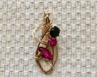 Fuchsia Crystal Pendant Wire Wrapped 14K With Black Accent Stone