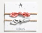 Baby Headband Set of 2  -  Infant Bow Headbands - Newborn Top Knot Headbands