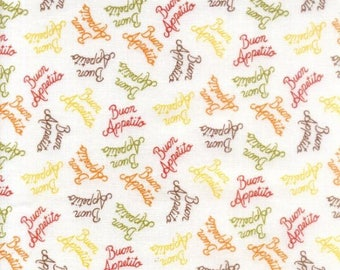 Buon Appetito Words on White premium cotton fabric from Elizabeths Studio - chef, cooking, kitchen
