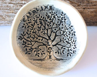 """PRE-ORDER 3"""" Personalized Ring Dish, Tree of Life, Ceramic, Handmade Pottery, by RiverStone Pottery"""