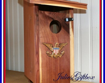 Cedar Bird House With Brass Eagle-Outdoor Birdhouse-Front Door Clean out-3 Ways To Hang Hardware Included-Ready To Ship-Made In The USA