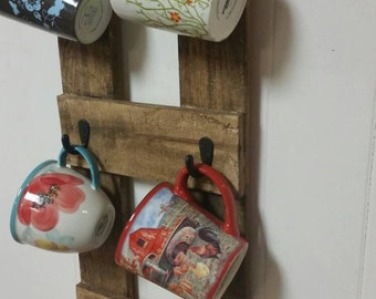 Vertical 6 Cup Coffee Mug Holder Wall Mount Pallet Upcycled Rustic Housewarming Wedding Gift Reclaimed Wood