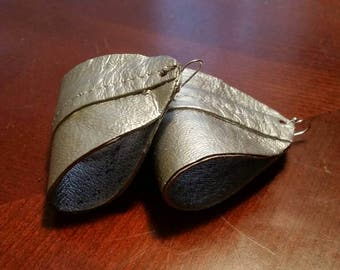 Leather earrings, two toned, painted metallic silver. (Smaller size.)